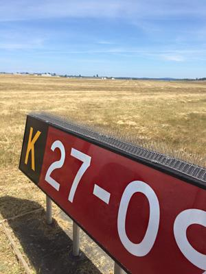 Runway sign side with nixalite installed