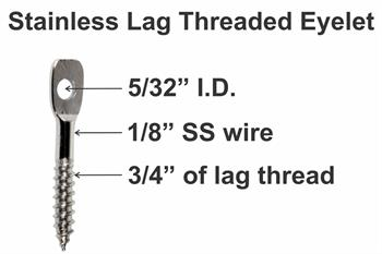 Stainless lag threaded eyelet cable guide