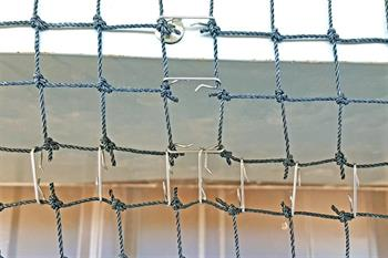 Stainless steel net clip installation close up