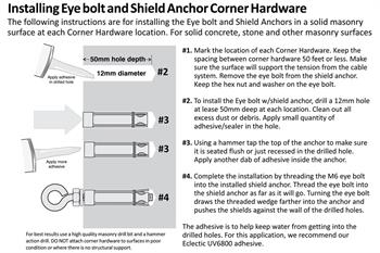 Zinc Plated Eye Bolt with Shield Anchor install diagram