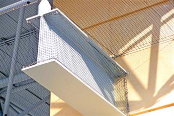 Bird netting example installation on I-beam