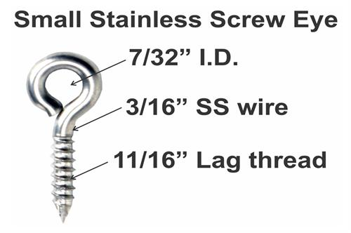 small stainless screw eye specs